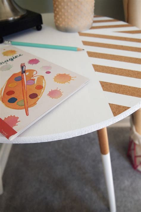 diy table  stripes  paint dipped legs
