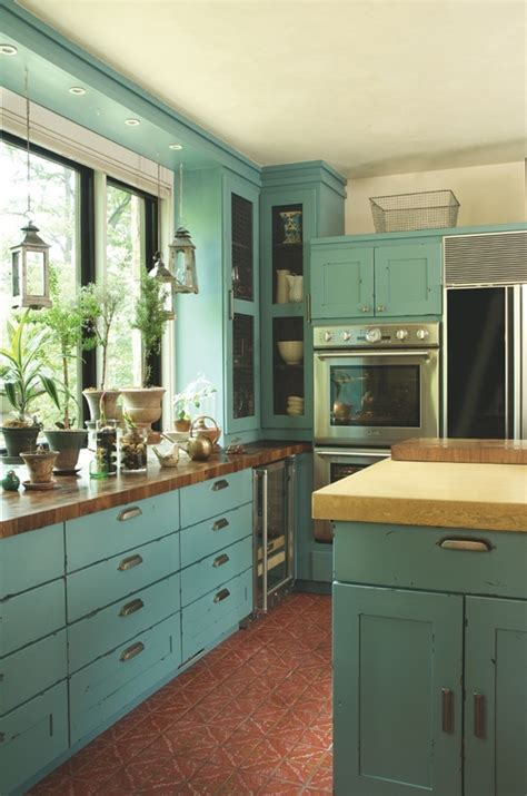 Rustic Teal Kitchen Cabinets by Teal Kitchen Kitchens