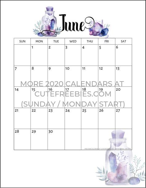 june  calendar  printable crystals cute freebies