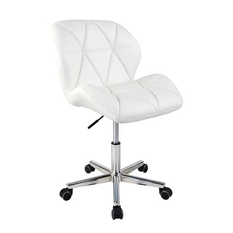 white modern uranus padded swivel faux leather computer