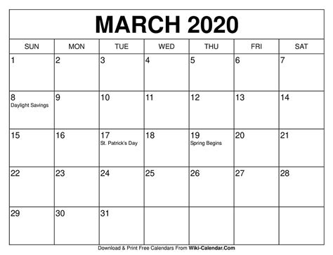 printable march  calendar wiki calendarcom