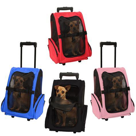 Pet Carrier Dog Cat Rolling Back Pack Travel Airline Wheel