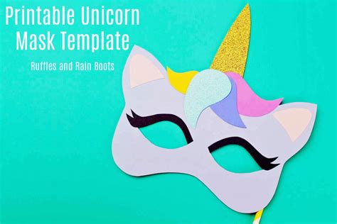 printable unicorn mask coloring page  template