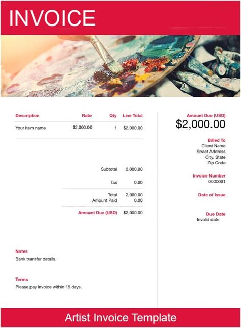 artist invoice template   send  minutes