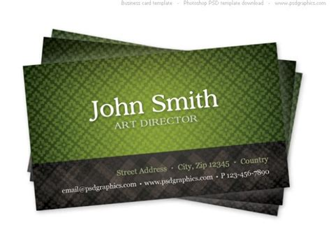 Green Business Card Template With Seamless Pattern Psd Business Plan Example Excel Sample Grocery Store Property Development Proposal Greetings Kenya Pdf Joint Venture Examples Human Resources Introduction