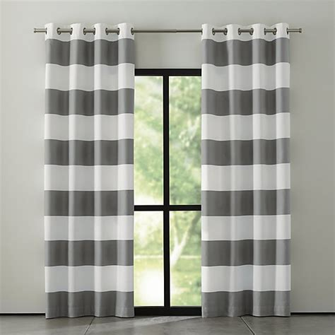grey striped curtain panels alston ivory grey striped curtains crate and barrel