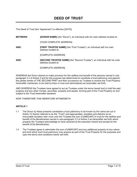 Trust Agreement Template Uk by Deed Of Trust Donation Template Sle Form Biztree