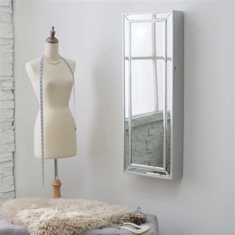 Wall Mount Jewelry Mirror Armoire by Belham Living Mirrored Locking Wall Mount