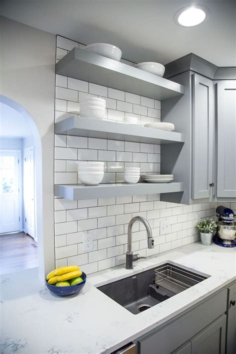 brite white subway tile  classic french gray shaker