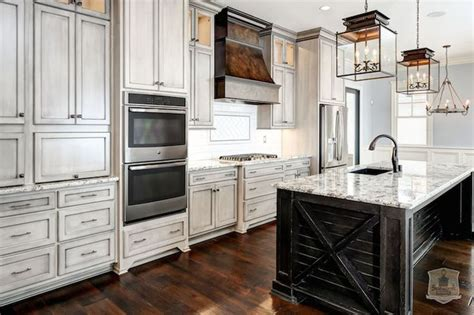 fabulous kitchen features weathered gray cabinets paired