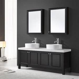 Meuble De Salle Sanitaire 160 Cm Noir Double Vasque