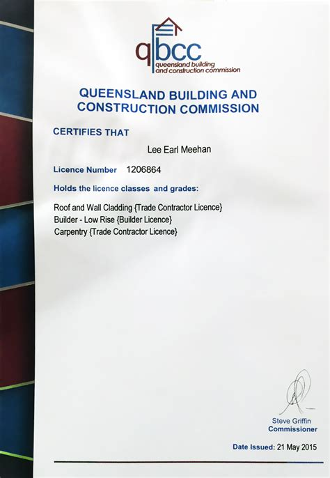certificates licences roofing