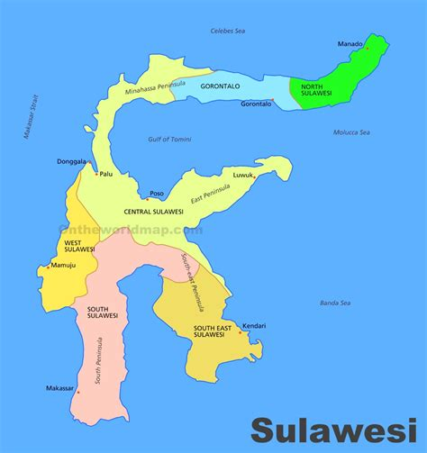 administrative divisions map  sulawesi