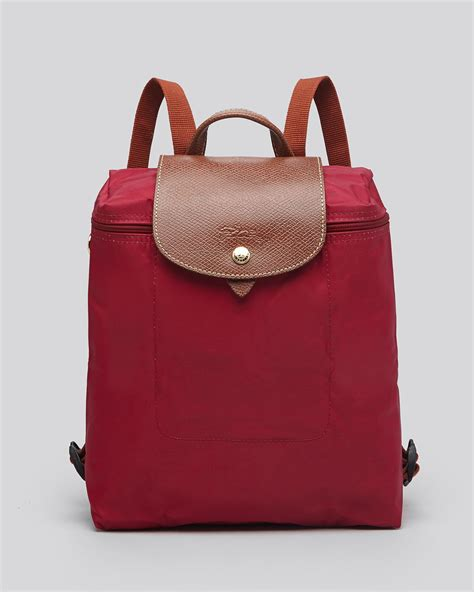longchamp backpack le pliage  red hydrangea lyst