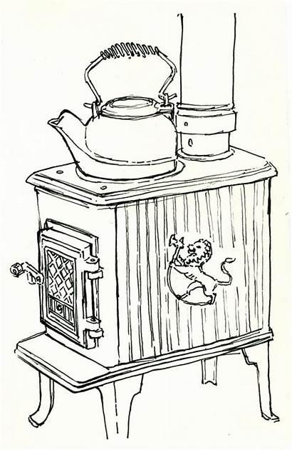 Sketches Stove Wood Sketch Cottage British Kettle