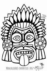 Masks Mayan Mask Coloring Maya Printable Aztec Mexican Culture Tiki Coloriage Maskers Mascara Template Jaguar Cardboard Crafts Colouring Adult Drawing sketch template