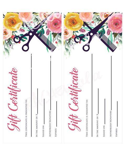 printable hair salon gift certificate template hair