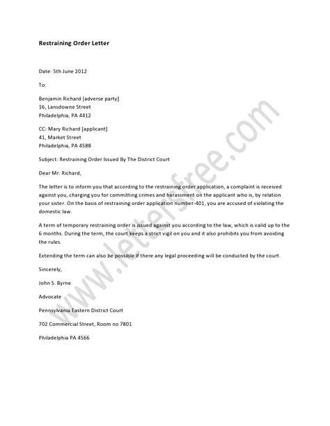 restraining order letter order letter sample pinterest