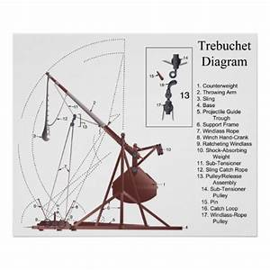 Diagram of a Middle Age Trebuchet Siege Engine Poster | Zazzle