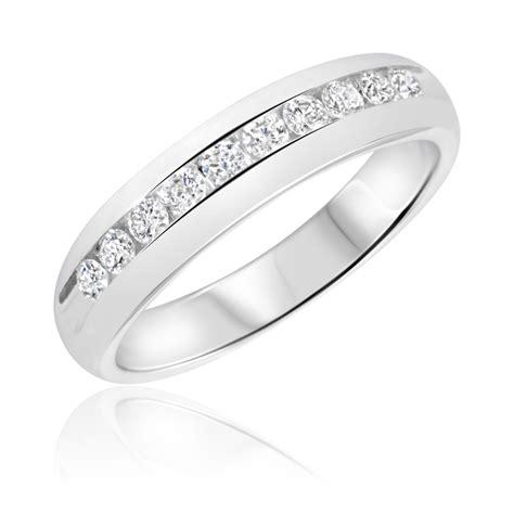 1 2 carat t w diamond men s wedding ring 14k white gold my trio rings bt505w14km