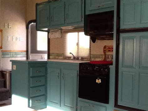 painting rv cabinets rv remodel after picture from the same ole oak cabinets