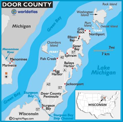 map of door county wi door county wisconsin map and information page