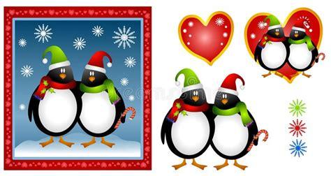 Cartoon Christmas Penguin Couple Stock Illustration