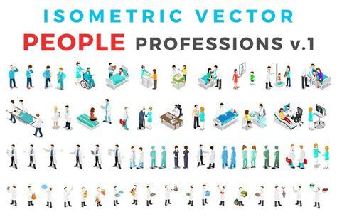 vector professions people isometric graphics creative