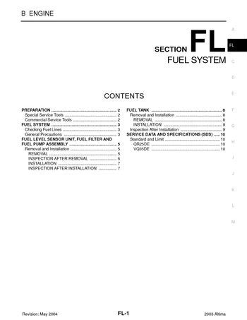 Nissan Altima Fuel System Section Pdf Manual