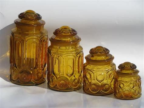 colored glass kitchen canisters vintage canister jars set moon and pattern