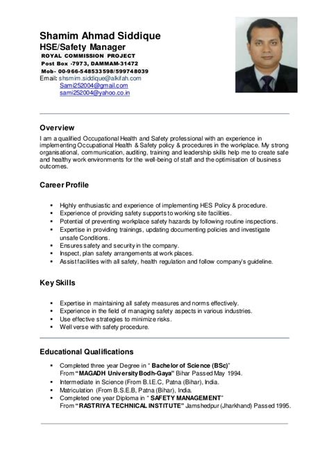 safety manager resume pdf shamim ahmad hse manager cv