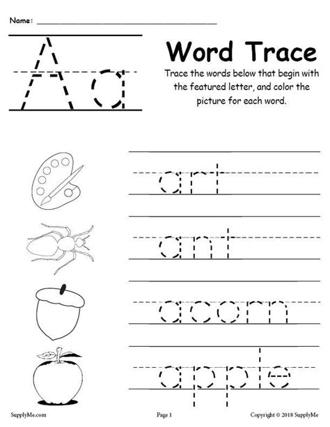 26 alphabet word tracing worksheets supplyme