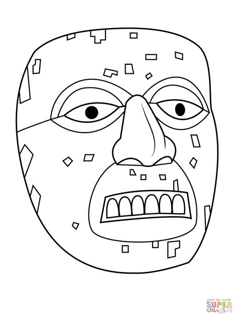 aztec mask template aztec mask of xiuhtecuhtli coloring page free printable coloring pages