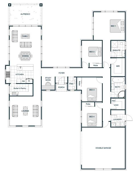 floor plan friday  shaped smart home   separate  distinct wings home design floor