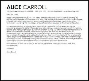 records clerk resume cover letter records clerk cover letter sle livecareer