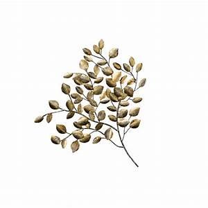 Deco Murale Metal Fleur : d coration murale fleur branche de feuilles m tal tons dor s et argent s 76x80cm ~ Teatrodelosmanantiales.com Idées de Décoration