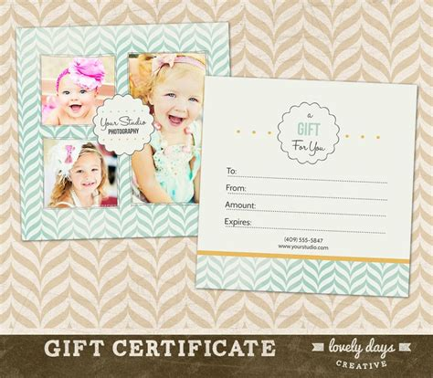 photography gift certificate template  professional