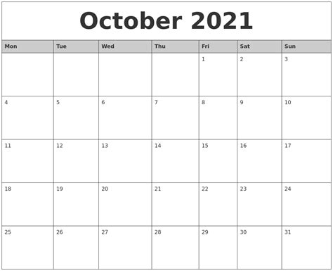 october  monthly calendar printable