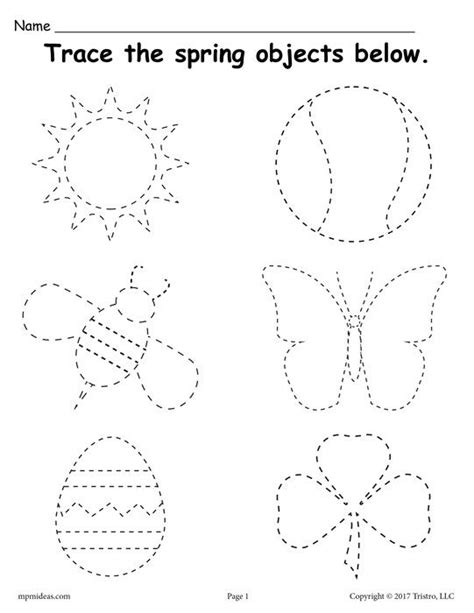 printable spring themed tracing worksheet preschool