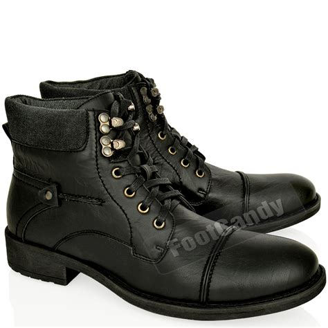 mens black leather biker boots mens leather army military biker combat lace up low heel