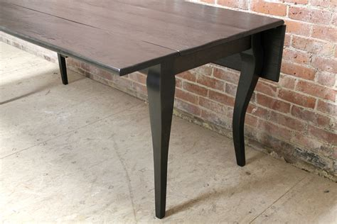 reclaimed oak drop leaf table  black wash ecustomfinishes