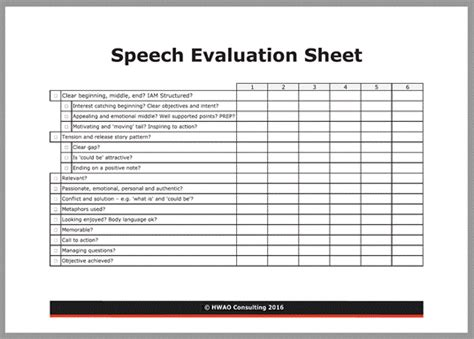 speech evaluation sheet hwao consulting