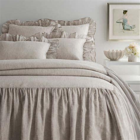 Savannah Linen Chambray Dove Grey Bedspread  Pine Cone Hill
