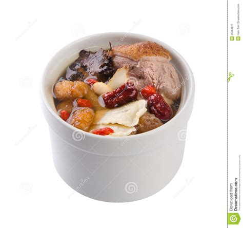 pot cuisine herb soup with duck in pot food style stock image