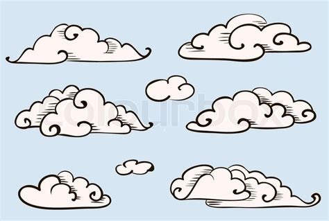 clouds set vintage vector stylized drawing stock vector
