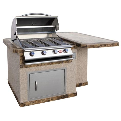cal flame outdoor kitchen stainless cal flame 6 ft stucco grill island with tile top and 4