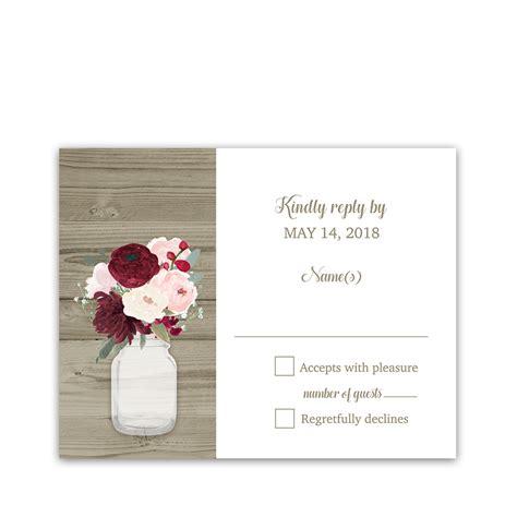 Rustic Mason Jar Floral Wedding Invitations Burgundy
