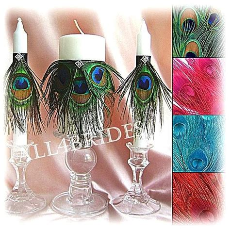 Peacock Wedding Unity Candle Set Ceremony Decor Green