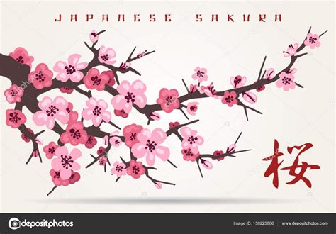 Dibujos: arboles japoneses Rama de árbol de cerezo de