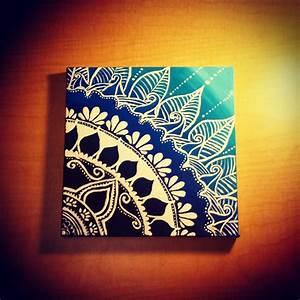 Canvas, Painting, Mandala, Henna, On, Gradient, Background